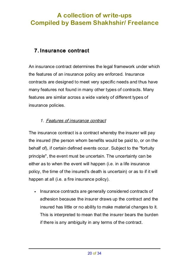 Insurance A Collection Of Write Ups