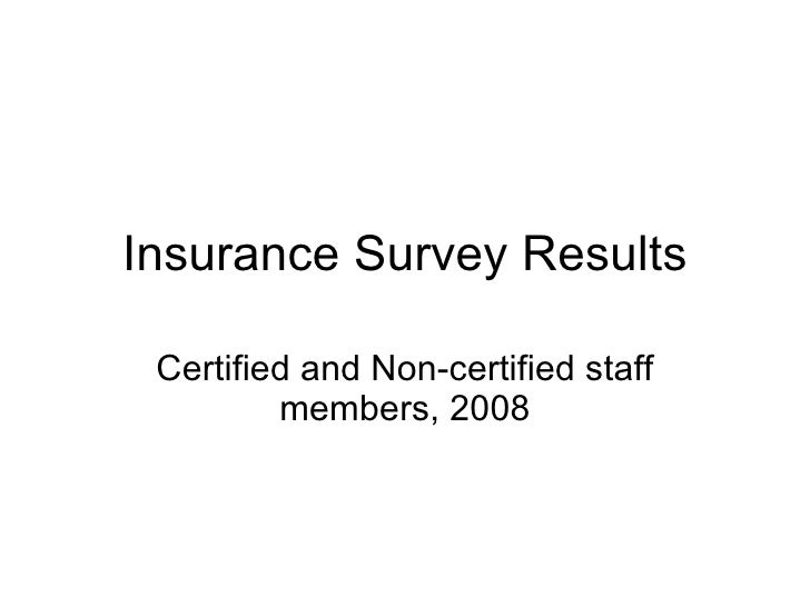 Insurance Survey Results Certified and Non-certified staff members, 2008