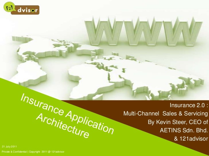 21 July 2011<br />Private & Confidential | Copyright  2011 @ 121advisor<br />Insurance Application Architecture<br />Insur...