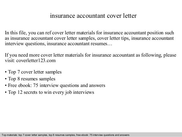 Insurance Accountant Cover Letter In This File, You Can Ref Cover Letter  Materials For Insurance Cover Letter Sample ...  Accountant Cover Letter Sample