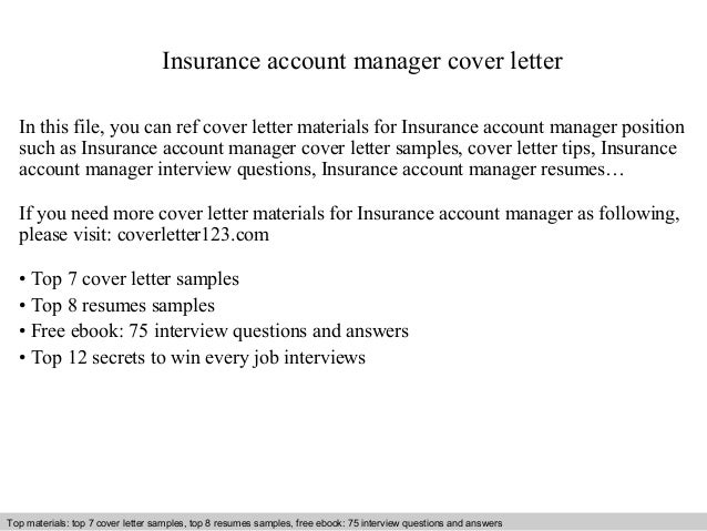 Insurance Account Manager Cover Letter In This File, You Can Ref Cover  Letter Materials For ...  Account Manager Cover Letter