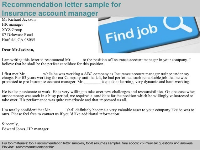 Insurance account manager recommendation letter