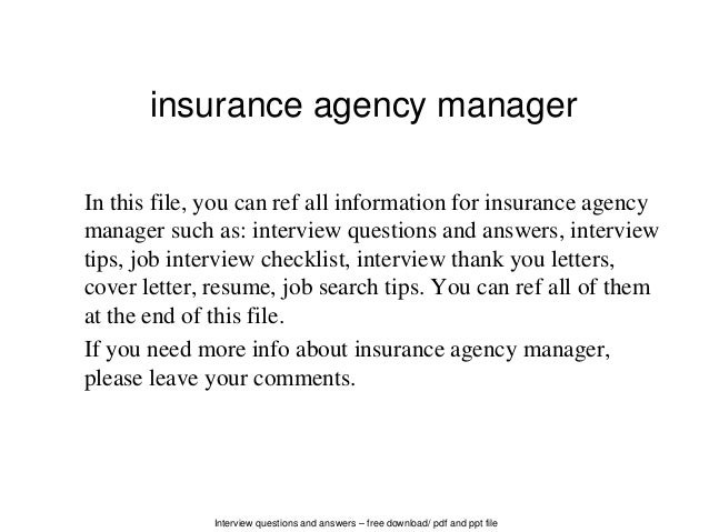 interview questions and answers free download pdf and ppt file insurance agency manager in - Agency Manager