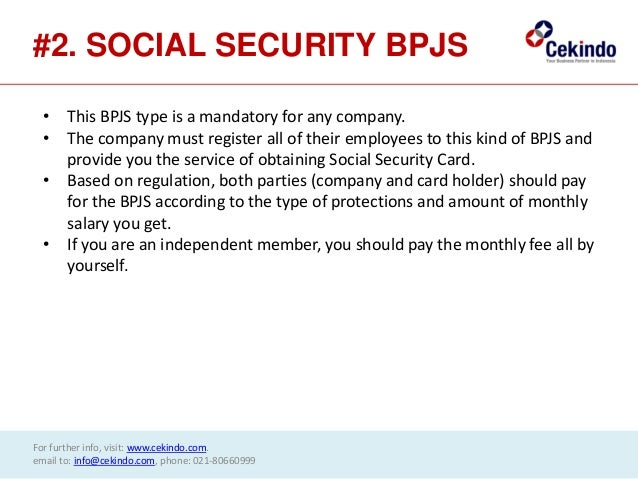 Insurance and social security (bpjs) type in indonesia