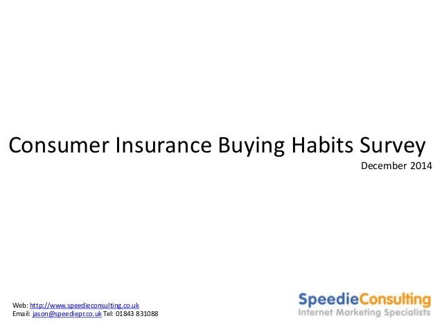 Consumer Insurance Buying Habits Survey  December 2014  Web: http://www.speedieconsulting.co.uk  Email: jason@speediepr.co...