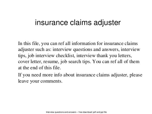 Perfect Interview Questions And Answers U2013 Free Download/ Pdf And Ppt File Insurance Claims  Adjuster In ...