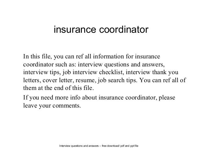 insurance coordinator