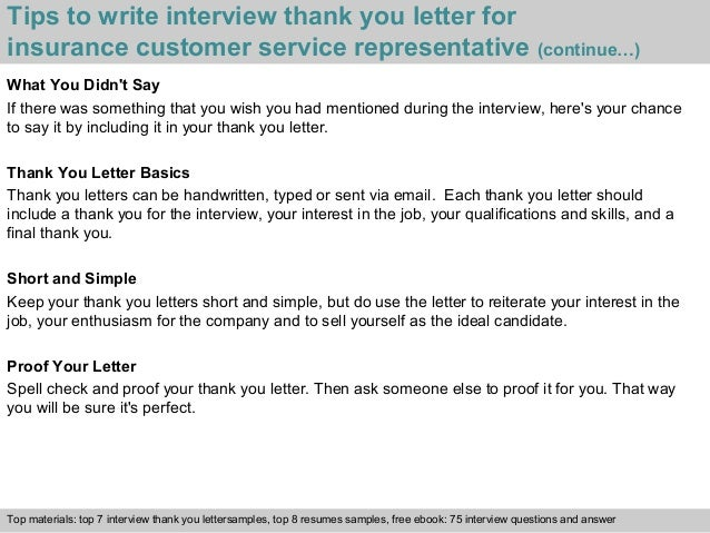 4 tips to write interview thank you letter for insurance customer service representative