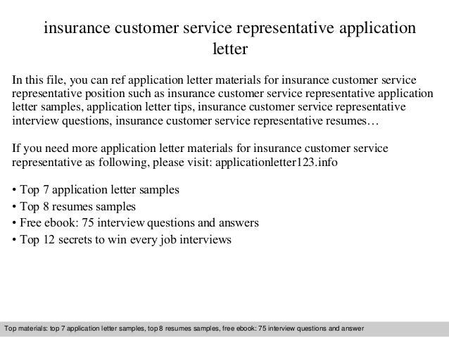 Insurance Customer Service Representative Application Letter In This File,  You Can Ref Application Letter Materials ...  Insurance Customer Service Resume