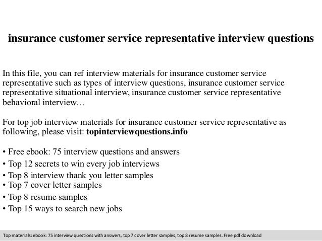 Insurance Customer Service Representative Interview Questions In This File,  You Can Ref Interview Materials For ...