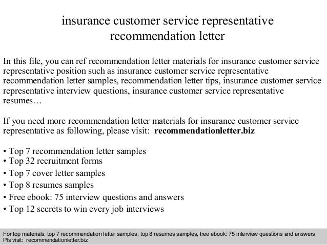 Insurance customer service representative recommendation letter