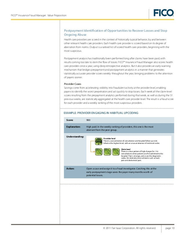 FICO™ Insurance Fraud Manager—Health Care Edition Value Proposition