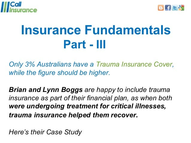 Insurance Fundamentals                  Part - IIIOnly 3% Australians have a Trauma Insurance Cover,while the figure shoul...