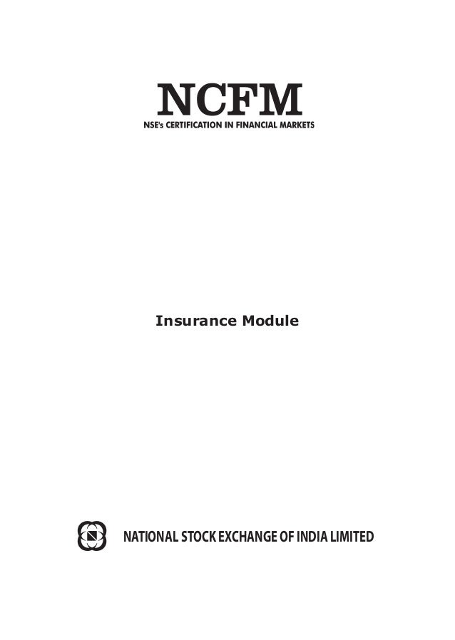 Insurance Module NATIONAL STOCK EXCHANGE OF INDIA LIMITED