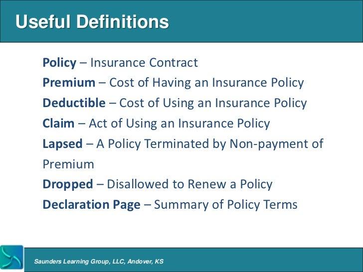 Insurance Definitions Deductible