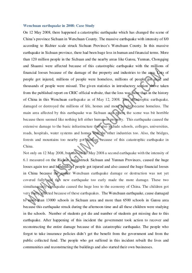 insurance policy in s earthquake essay sample from assignmentsup  7 wenchuan earthquake
