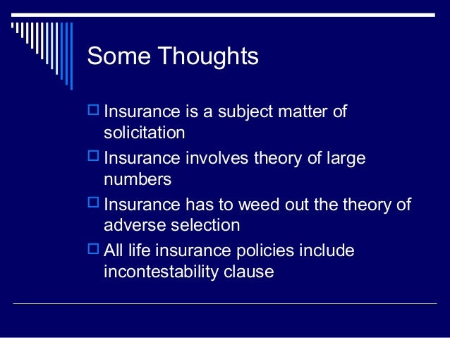 Insurance Is The Subject Matter Of Solicitation Meaning