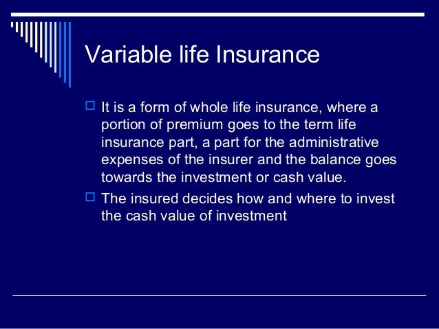 Insurance products (Life Insurance)