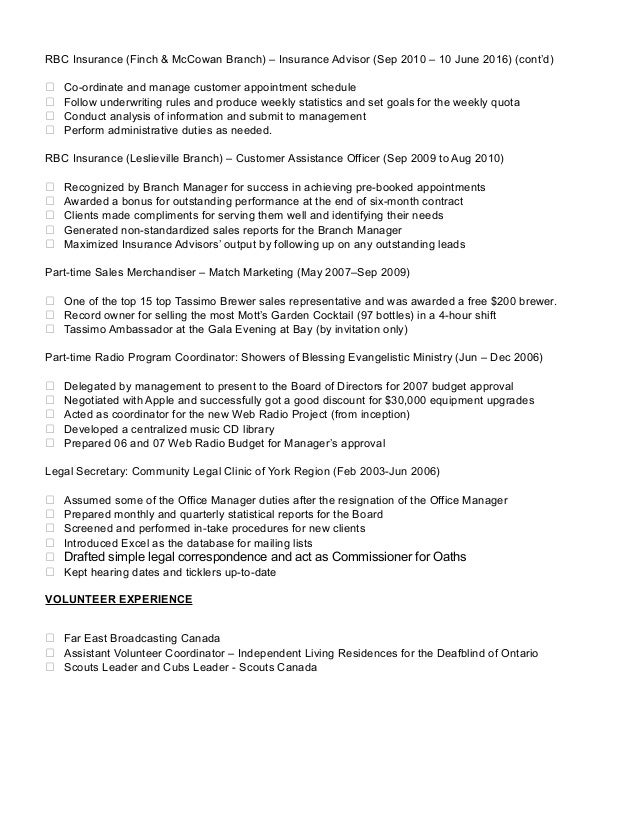 insurance representative resume oct 2016