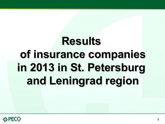 1 ResultsResults of insurance companiesof insurance companies in 2013 in St. Petersburgin 2013 in St. Petersburg and Lenin...