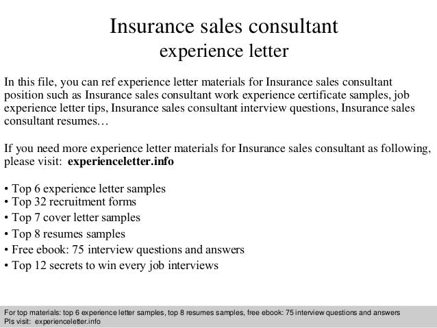 sample insurance letter of experience  Insurance sales consultant experience letter