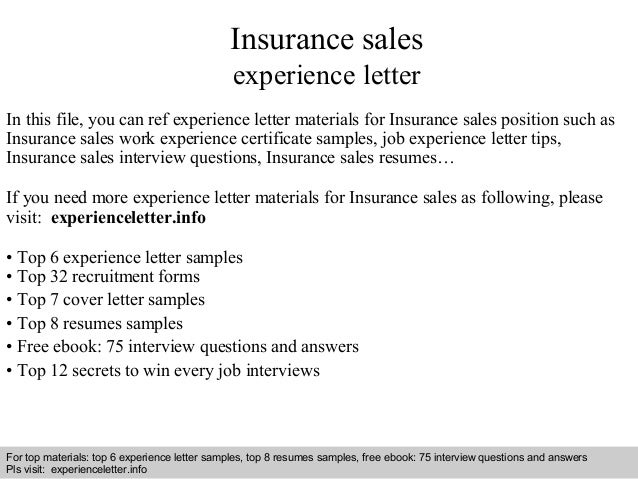 Insurance sales experience letter