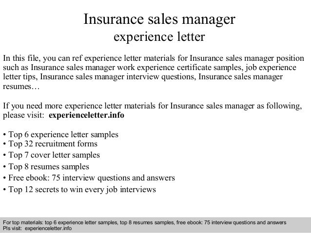 sample insurance letter of experience  Insurance sales manager experience letter