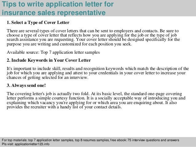 Insurance sales representative application letter