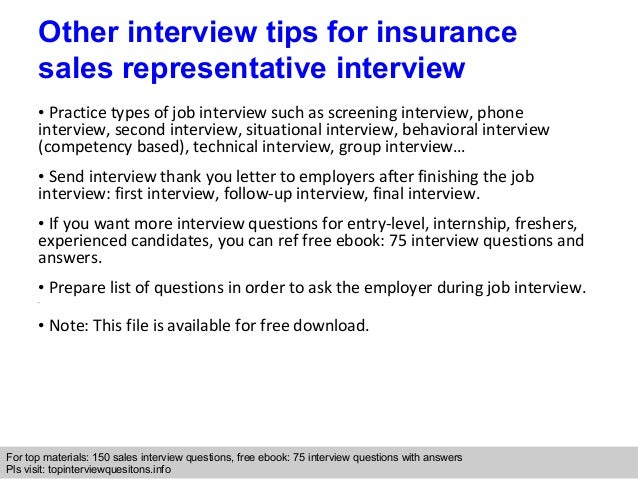 Insurance sales interview questions
