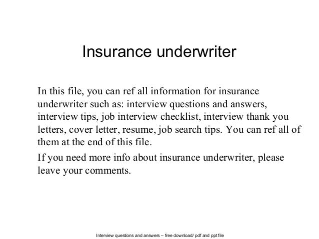 Insurance Underwriter Cover Letters