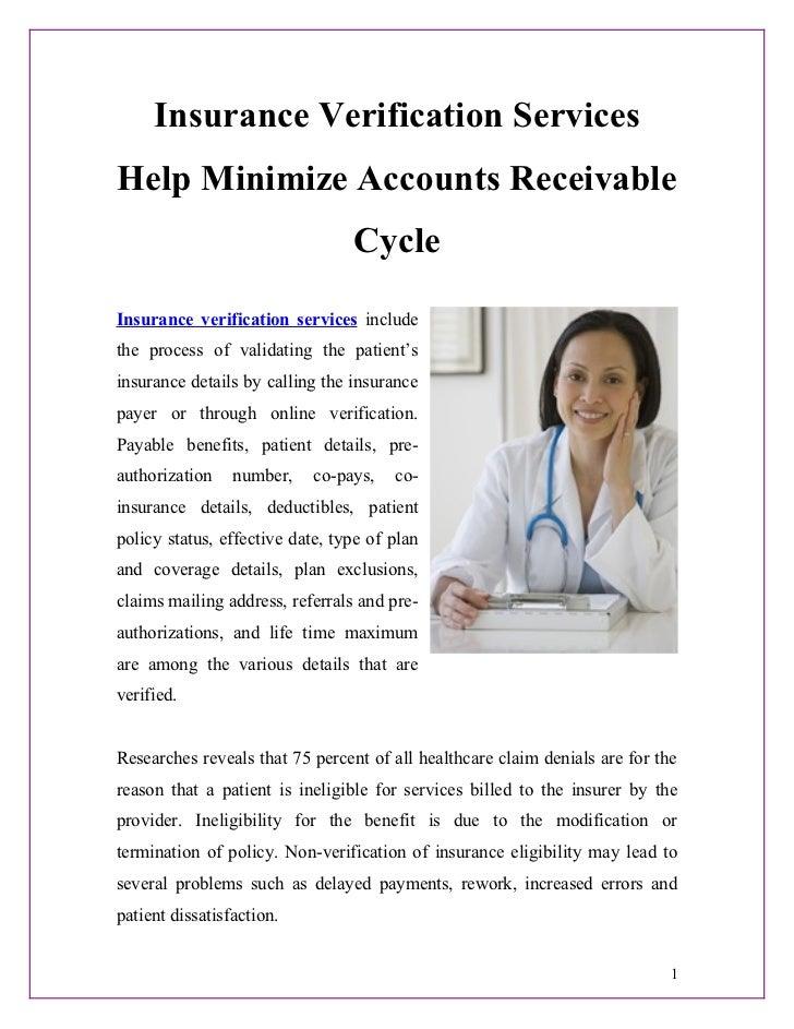 Insurance Verification ServicesHelp Minimize Accounts Receivable                                 CycleInsurance verificati...
