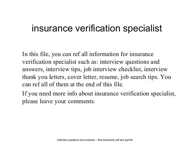 Insurance Verification Specialist