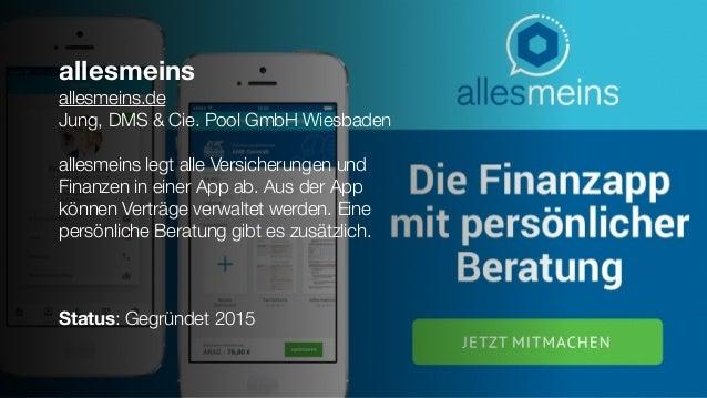 allesmeins allesmeins.de Jung, DMS & Cie. Pool GmbH Wiesbaden allesmeins legt alle Versicherungen und Finanzen in einer Ap...