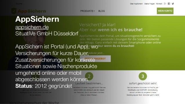 AppSichern appsichern.de SituatiVe GmbH Düsseldorf AppSichern ist Portal (und App), wo Versicherungen für kurze Dauer, Zus...