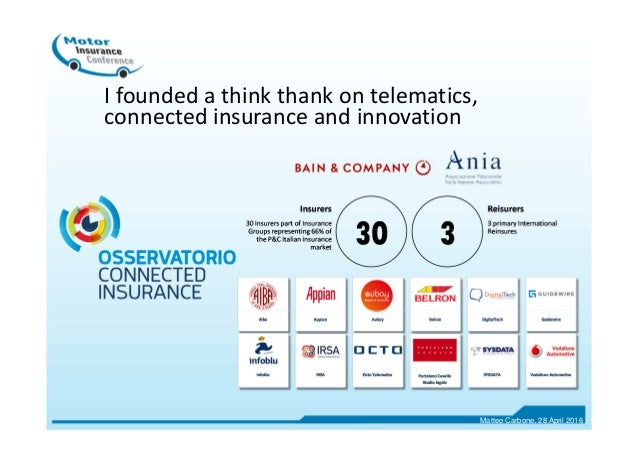 I founded a think thank on telematics, connected insurance and innovation Matteo Carbone, 28 April 2016