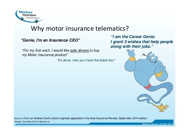 """Why motor insurance telematics? """"I am the Career Genie. I grant 3 wishes that help people along with their jobs."""" """"For my ..."""
