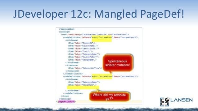 JDeveloper 12c: Niggles • No auto date coercion between different date formats • Table properties: