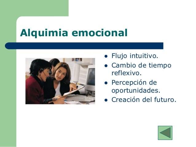 Alquimia emocional  Flujo intuitivo.  Cambio de tiempo reflexivo.  Percepción de oportunidades.  Creación del futuro.