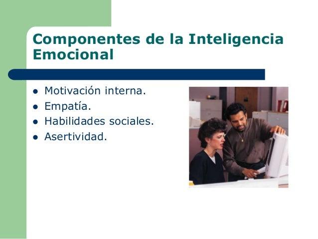 Componentes de la Inteligencia Emocional  Motivación interna.  Empatía.  Habilidades sociales.  Asertividad.