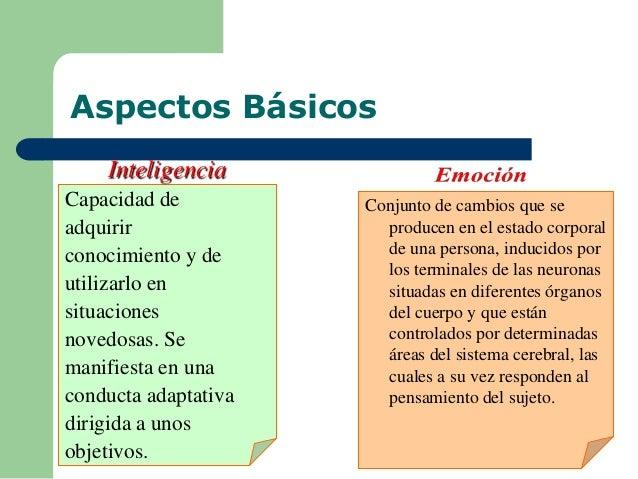 Aspectos Básicos Capacidad de adquirir conocimiento y de utilizarlo en situaciones novedosas. Se manifiesta en una conduct...