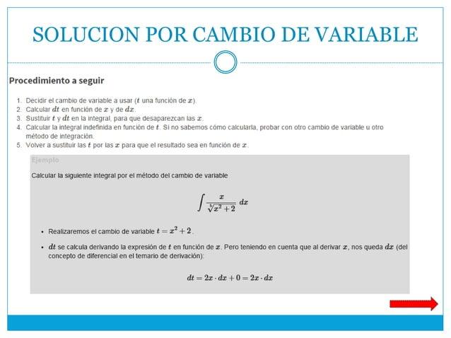SOLUCION POR CAMBIO DE VARIABLE