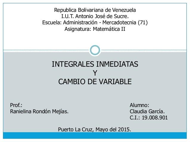 Alumno: Claudia García. C.I.: 19.008.901 Puerto La Cruz, Mayo del 2015. Republica Bolivariana de Venezuela I.U.T. Antonio ...