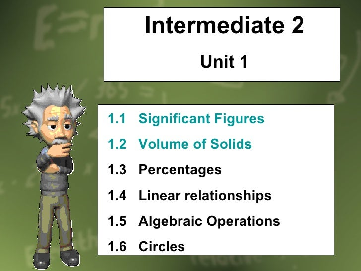 Intermediate 2 Unit 1 1.1   Significant Figures 1.2   Volume of Solids 1.3  Percentages 1.4  Linear relationships 1.5  Alg...