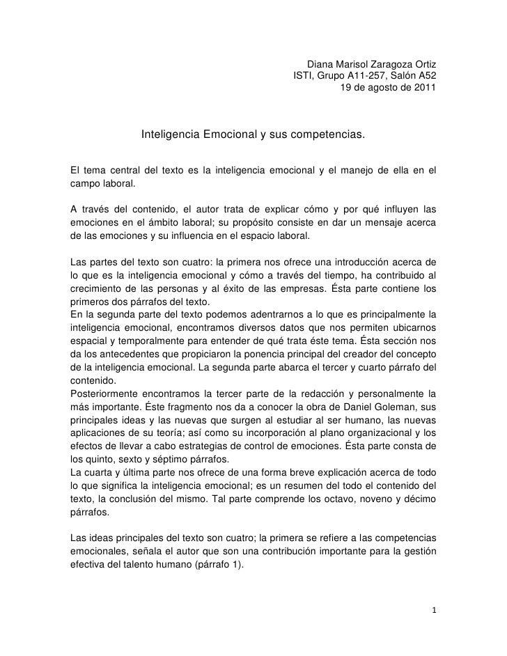 Diana Marisol Zaragoza Ortiz<br />ISTI, Grupo A11-257, Salón A52<br />19 de agosto de 2011 <br />Inteligencia Emocional y ...
