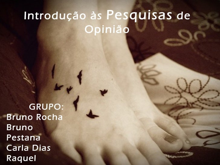 Introdução às Pesquisas de             Opinião     GRUPO:Bruno RochaBrunoPestanaCarla DiasRaquel