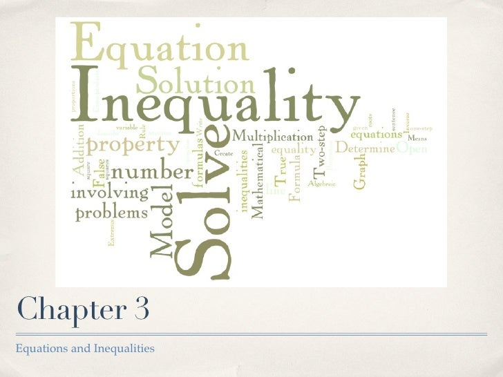 Chapter 3 Equations and Inequalities