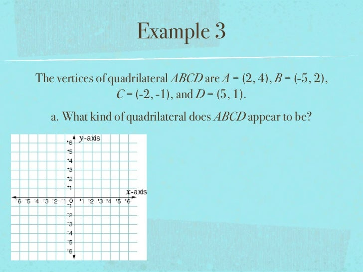 Example 3The vertices of quadrilateral ABCD are A = (2, 4), B = (-5, 2),                 C = (-2, -1), and D = (5, 1).   a...