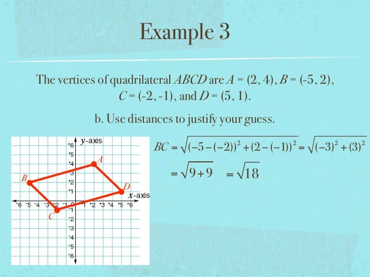 Example 3    The vertices of quadrilateral ABCD are A = (2, 4), B = (-5, 2),                     C = (-2, -1), and D = (5,...