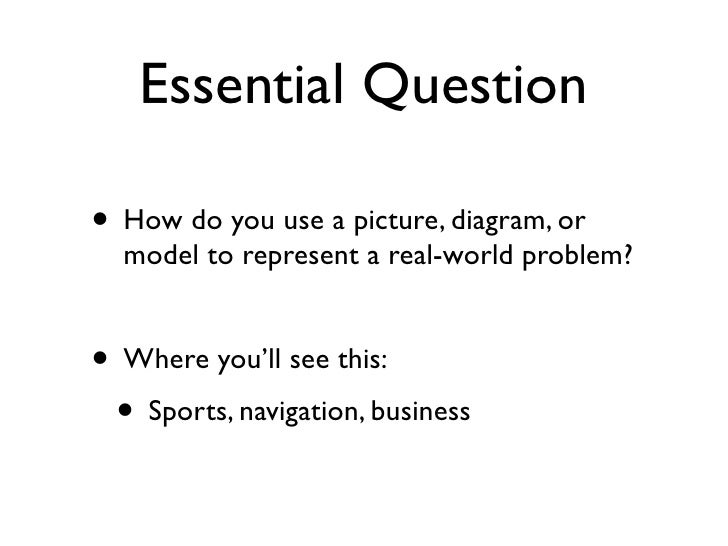 Essential Question  • How do you use a picture, diagram, or   model to represent a real-world problem?   • Where you'll se...