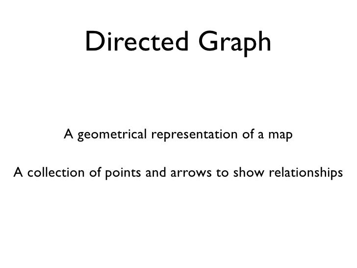 Directed Graph           A geometrical representation of a map  A collection of points and arrows to show relationships